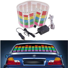 80*19cm Red Yellow Blue Green Rosy Change Car Sticker Music Rhythm LED Flash Light Lamp Voice-activated Equalizer Stickers(China)