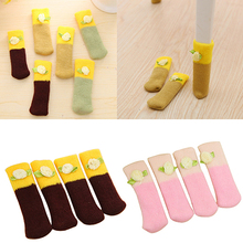 4 Pcs Knit Home Flower Floor Protector Leg Sleeve Table Chair Foot Cover Socks