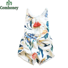 Baby Rompers Summer Floral Print Baby Girls Clothes Flower Retro Infant Jumpsuit Newborn Tassel Outfit Toddler Beach Overall