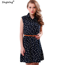 Singwing Women summer Dresses Cat Footprints Pattern Show Thin Lady Chiffon Dresses Cat Footprints Dress With Belt High Quality