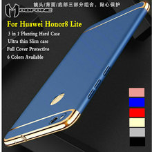 Mobfone Case for Huawei Honor 8 Lite Plating 3 in 1 Plastic Ultra Thin Slim Matte Back Cover Phone Capas Fundas Coque