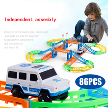 Diy Children toys electric rail car double tracks train track model toy baby racing pista hot wheels car birthday gift for kids