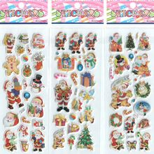 3pcs/lot Christmas Santa Claus Cartoon Stickers for Boys and Girls Decorative Beautiful Foam Stickers intelligence #ST018(China)