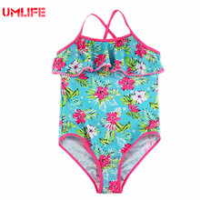 Junior Girls Swimsuit One Piece Floral Swimwear For Teenagers 2017 Ruffles Bodysuits Girls Bathing Suits Children Swim Wear(China)
