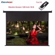 Excelvan HD 120 Inch 16:9 Electric Screen For 3D LCD DLP Projector support Wall Ceiling Mount Motorized Projection Screen(China)