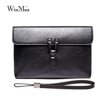 Winmax famous brand business men day cultches documents cultch protable purse with handle men leather cultch small briefcases