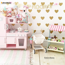 Gold Heart Wall Sticker Baby Nursery Stickers Children Removable Wall Decals Home Decoration Art Vinyl Wall Stickers Kids Room(China)