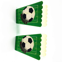 6PCS/LOT FOOTBALL THEME POPCORN BOX KIDS BIRTHDAY PARTY SUPPLIES FOOTBALL POPCORN CASE CANDY BOX FAVOR ACCESSORY