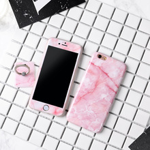 marble Cases TPU Cover Case Protector + Tempered Glass Screen Protector + Ring Case for Apple iPhone 6 6s Plus 7 7Plus cases