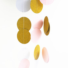 Pink White Gold Bunting Hanging Garland Valentine Birthday Party Wedding Shower Room Decoration Paper Round Circle String 10pcs
