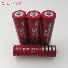 4pcs /lot 18650 rechargeable batteries 3.7v 4200 mAh Lithium li-ion battery for led Flashlight batery Free shipping