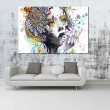 1 PCS Large Colorful Beautiful Spring Girl Canvas Print Painting Abstract Graffiti Figure Street Artwork Picture For Home Decor(China)