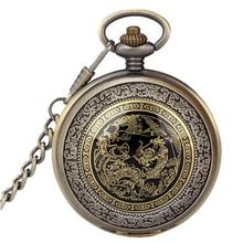 BAOLANDE2016 Hot Sale Bronze Dragon Phoenix Quartz Pocket Watches Pendant Chain Necklace Good-looking MA 31