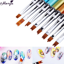 8 Styles Nail Art Rhinestone Metal Smile Moon French Paint Brush 3D Petal Flower Shaping Wave Curved Line DIY Gradient Draw Pen(China)