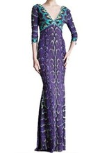 Free Shipping Italy Designer Dress Women's V-neck Charming Purple Printed Stretch Jersey Silk Long Maxi Dress,S-XXL