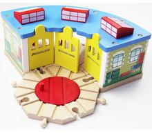 Thomas and Friends-3 Doors Timmouth Room Garage Parking House Train Station Thomas Wooden Train Track Railway Accessories Toy(China)