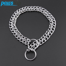 Double Chain Dog Collar Lead Durable Outdoor Pet Dog Training Collar For Big Dogs S/M/L(China)
