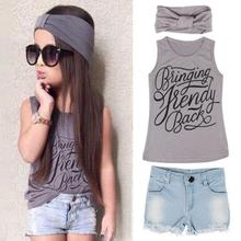 3PCS New Arrival Kids Girls Clothing Set Trendy Summer Gray Letter Printed Vest Tops+Denim Short Pants+Headband Outfits Clothes