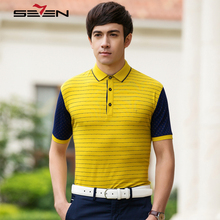 Seven7 Brand Summer Polo Shirts Short Sleeve Men Polo Shirts Striped Business Slim Fit Cotton Performance Deck Polos 108T50040(China)