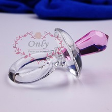 Free Shipping 50PCS/LOT   Pink Blue Crystal Glass Cute Crystal Pacifier Baby Shower Favors  Gift Souvenirs