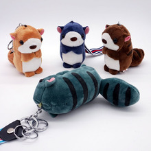 Cute Stripe Squirrel Key Chain Key Ring Plush Women Bag Accessories Charms Pendant Mini Stuffed Toy Wrist Rope Keychains Gift(China)