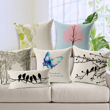 Wholesaler Valentine Day Style Velvet Bird Butterflies Branch Square Sofa Home Car Decorative 1 Side Printing Cushion Pillow
