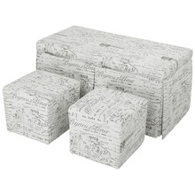 LANGRIA Beige 3-Piece French Script Patterned Fabric Storage Bench and Cube Ottoman Set Footrest Home Furniture Stool Seat