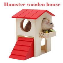 1pcs Cat Pet Hamster House Mini Rat Mouse Pet Top Red Triangle Wooden Hamster Sleeping Bed Room Nest House Log Cabin Cage