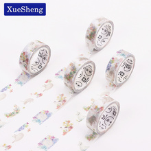2 PCS New DIY Japanese Paper Masking Washi Tapes Beautiful Cat and Floral Decoration Adhesive Tapes Scrapbooking Stickers