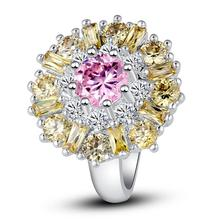 New Fashion Exalted Flower Pink White & Citrine Cubic Ziconia Siver Color Ring Size 7 8 9 10 11 12 Nobby Jewelry Gift For Women