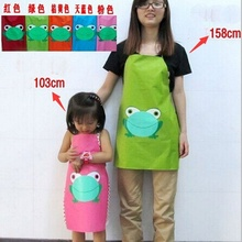 Hot Sale New Cute Paternity Kids Child Children Waterproof Apron Cartoon Frog Printed Painting Cooking Apron in stock 2017(China)
