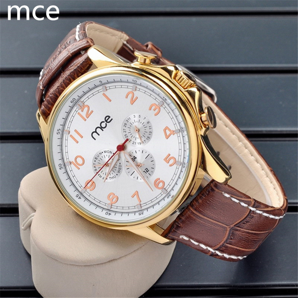 MCE Top Brand Men Mechanical Watch Luxury Fashion Automatic Self-Winding wristwatches for men Brown Leather Strap Wrist Watch<br><br>Aliexpress