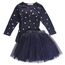 2018 New Fancy Kid Baby Girls Princess Party Star T-shirt Bow Tulle Skirts Tutu 2pcs Outfits Autumn Clothing Set f(China)