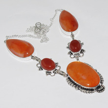 Carnelian Necklace Silver Overlay over Copper , 51.8cm, N1043(China)