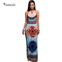2017 Summer New Arrivals Sexy Women Backless Dresses African Pattern Low Back Halter Maxi Dress DL61458 vestido de festa curto(China)