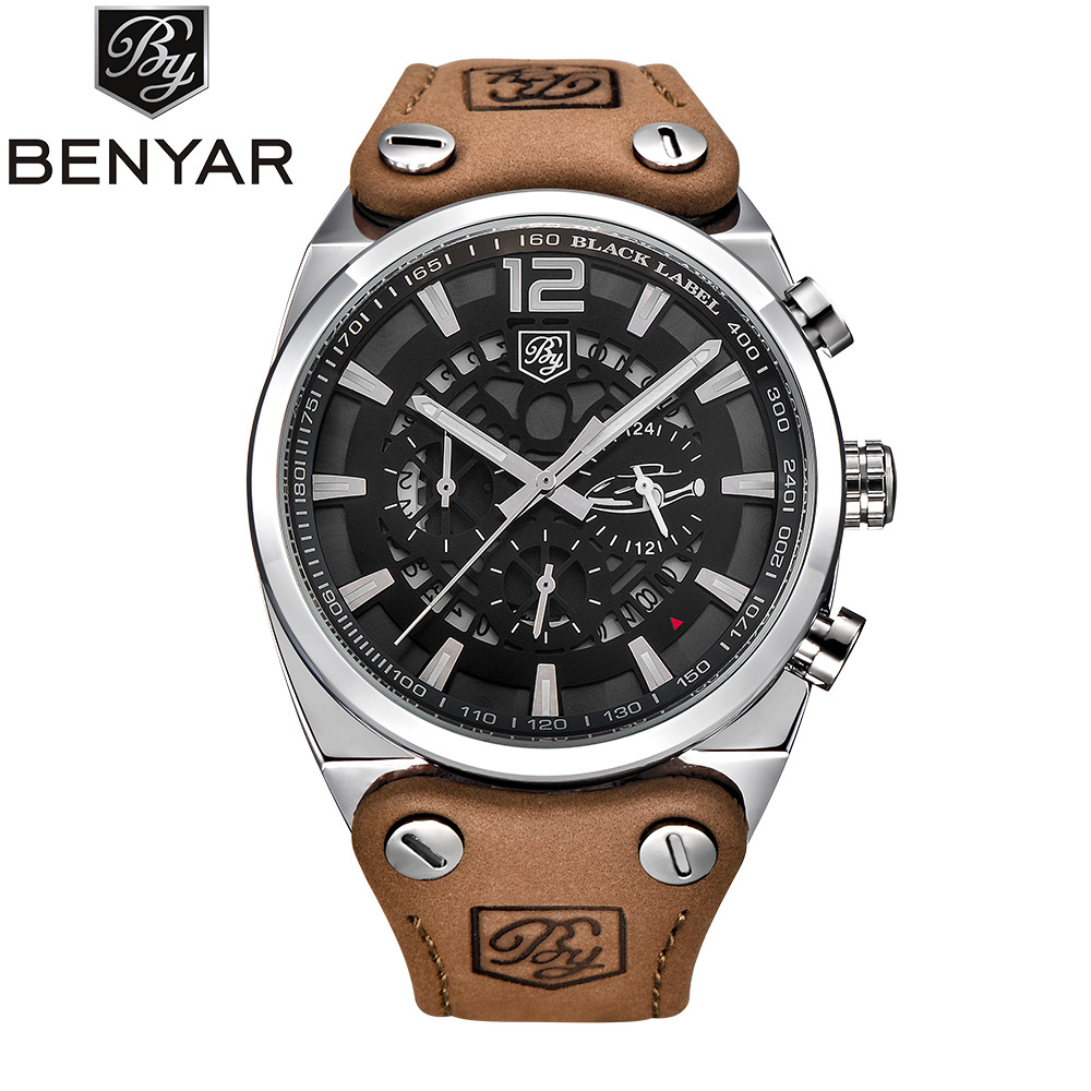 BENYAR Fashion Mens Wrist Watch Men Shockproof Waterproof Leather Band Quartz Wristwatch Clock Male Relogio Masculino Hodinky<br>