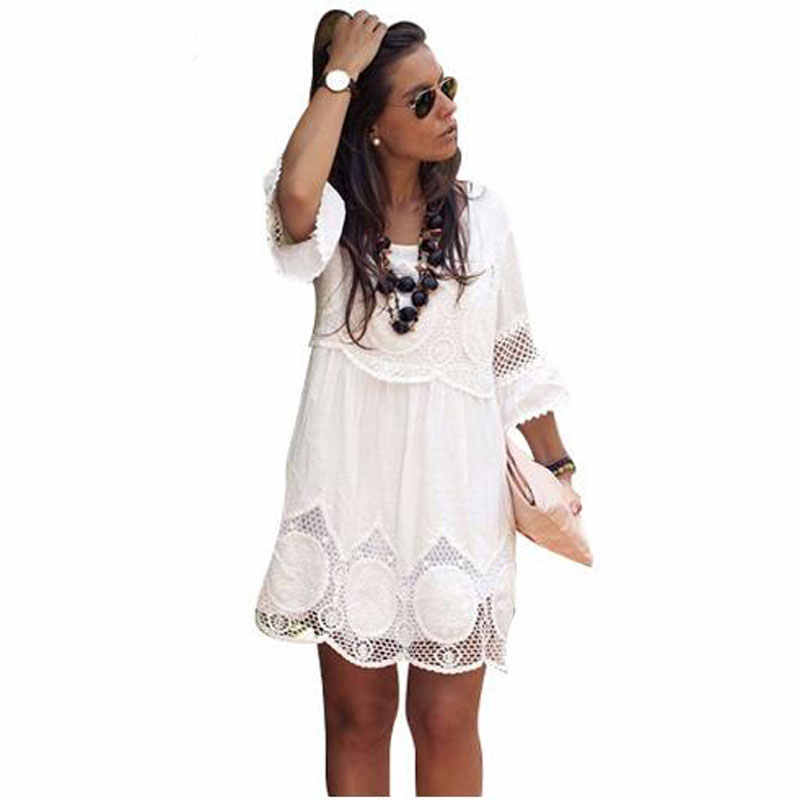 Detail Feedback Questions about Big size 6XL 2018 Fat MM Woman Lace dress  Summer casual half sleveve hollow out mini dresses plus size women clothing  6xl ... bdbb3bce3b0b