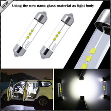 2pcs Xenon White Festoon 1.72 42mm LED Bulbs 578 576 211-2 212-2 For Car Interior Dome Lights, Cargo Area Trunk Room Lights, etc