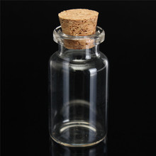 Simple 1pcs 45x24mm 12ml Small Mini Cork Stopper Glass Bottles Vials Jars Containers Small Wishing Bottle Glass Craft