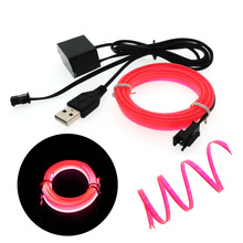 USB Car EL Wire Neon Lights Dance Festival led strip EL lights TV backlights Flexible Car light 2.3 MM with 6 MM sewing edge(China)