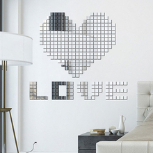 Plastic DIY Self-adhesive Tile 3D Mirror Wall Stickers Decal Mosaic Effect Room Decorations 100 Pieces/set JK1048
