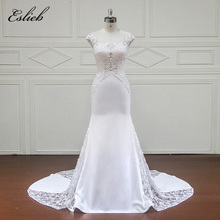 Soft Chiffon Tulle Crystal Leaf Appliques Flower Lace Illusion Design Wedding Dress Court Tail Short Sleeves Mermaid Bridal Gown(China)