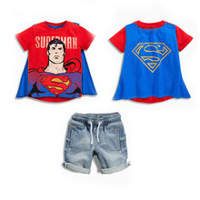 2017 Summer Baby Boys T-Shirts & Jeans Suit Cartoon Superman Children Clothing Set Kids Clothes Sets For 2-7 Years Old Boy