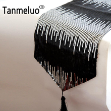 Modern fashion Christmas sequin black table runners modern table runner for party wedding decoration(China)