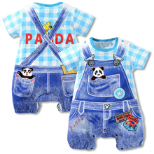 2017 new summer baby boys clothes Strap dot cartoon hello kitty cat panda short sleeves jumpsuits newborn baby girl rompers