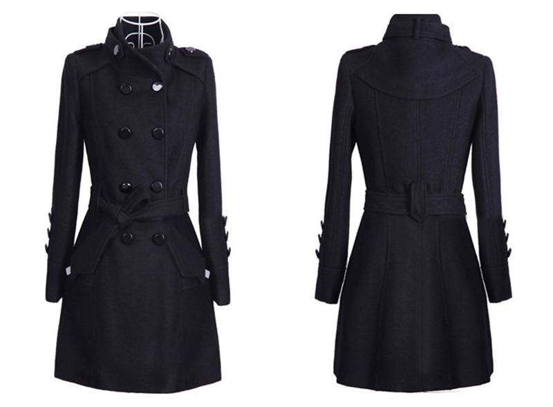 2016 New Women Trench Woolen Coat Winter Slim Double Breasted Overcoat (2)