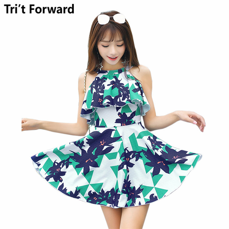 High Neck One Piece Swimsuit Womens Floral Beach Dress Swimwear Femme Push-up Bathing Suit 2018 Swimming Suits Sexy Swim Wear<br>