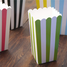 120pcs Popcorn box colorful chevron stripes dot Gold Gift Box Party Favour Wedding Pop corn kid party decoration bags loot