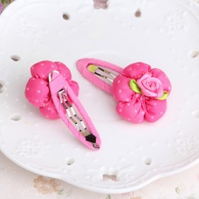 Cute Dot Flower Hairpins 6*3cm Clips Girl Headwear Children Hair Clips Headwear Children Floral Hairgrip Clamps Hair Accessories(China)