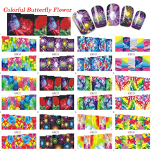 1 Sets 12 Designs Nail Art Decals 3d Beauty Glitter Flower Butterfly Sticker Nail Art Decoration Water Transfer Tips TRBN169-180(China)